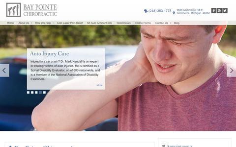 Screenshot of Home Page bpchiro.com - Commerce, Michigan Chiropractor :: Bay Pointe Chiropractic :: Dr. Mark Kendall - captured Oct. 10, 2017