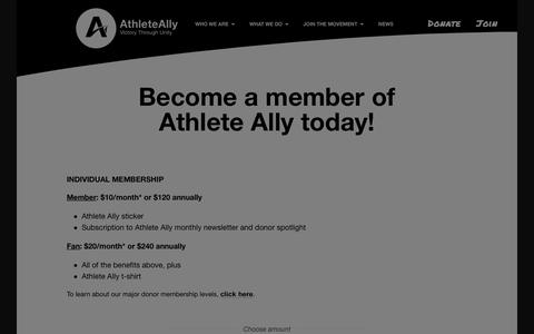 Screenshot of Signup Page athleteally.org - Champion's Circle Small Amounts - Athlete Ally - captured July 31, 2018