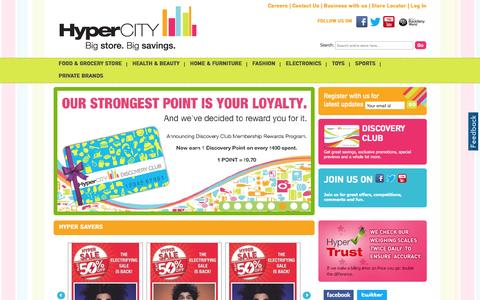 Screenshot of Home Page hypercityindia.com - HyperCITY Retail Stores, Supermarket, Super Store, Shopping centre in India - captured Feb. 2, 2016