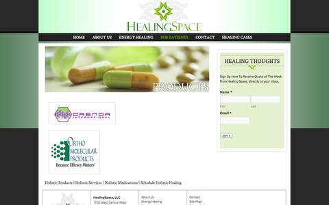 Screenshot of Products Page healingspacellc.com - Holistic Products | Holistic Services | Holistic Medications | Schedule Holistic Healing  | Healing Space - captured Sept. 29, 2014