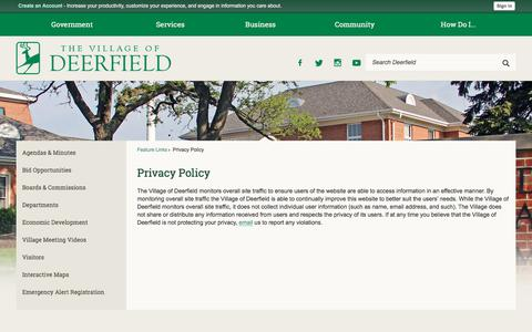 Screenshot of Privacy Page deerfield.il.us - Privacy Policy   Deerfield, IL - captured Oct. 25, 2017