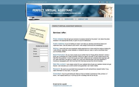 Screenshot of Services Page perfectvirtualassistant.com - Perfect Virtual Assistant - Erica Gennarini - captured Sept. 29, 2014