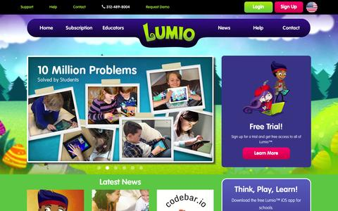 Screenshot of Home Page lumioeducation.com - Lumio Education - Online Math Resources for Teachers and Parents - captured Dec. 9, 2015