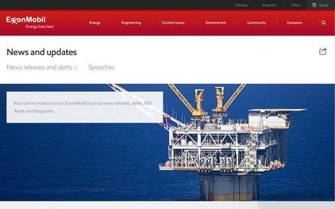 Screenshot of Press Page exxonmobil.com - News and updates | ExxonMobil - captured Sept. 22, 2014
