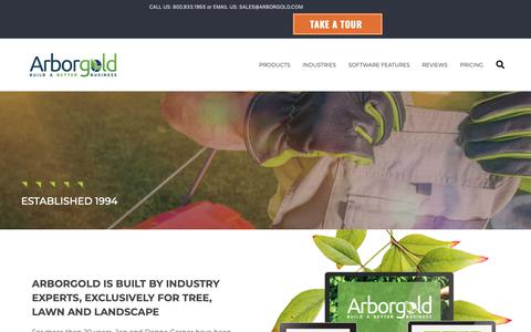 Screenshot of About Page arborgold.com - About | Arborgold Software All In One Business Management Tool - captured June 9, 2019