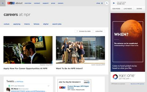Screenshot of Jobs Page npr.org - Careers at NPR: Jobs, internships and more : NPR - captured July 29, 2016