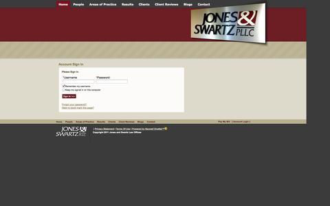Screenshot of Login Page jonesandswartzlaw.com - Jones And Swartz Law Offices - Boise Idaho | Account Sign In - captured Oct. 6, 2014