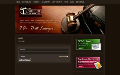Screenshot of Login Page greenelaw.org - Log in - captured Oct. 3, 2014