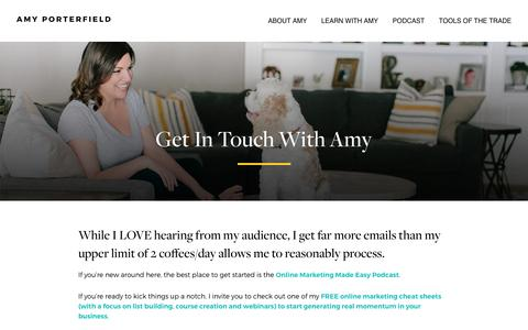 Screenshot of Contact Page amyporterfield.com - Get In Touch With Amy - Amy Porterfield | Online Marketing Expert - captured April 10, 2017