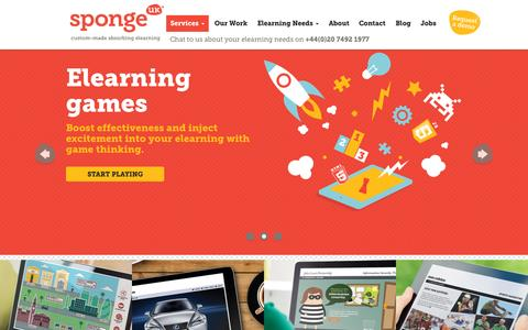 Screenshot of Home Page spongeuk.com - Sponge UK: Award-winning, custom-made elearning solutions - captured Sept. 24, 2015