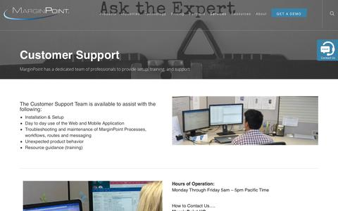 Screenshot of Support Page marginpoint.com - Customer Support - MarginPoint - captured Dec. 7, 2018