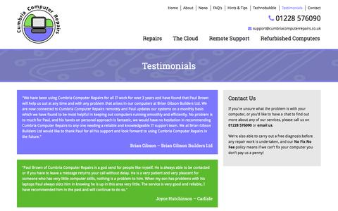 Screenshot of Testimonials Page cumbriacomputerrepairs.co.uk - Testimonials of Cumbria Computer Repairs, Carlisle, Wigton Surrounding Area - captured Oct. 2, 2014