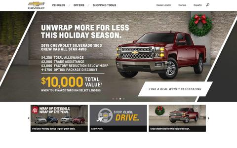 Screenshot of Home Page chevrolet.com - Chevrolet Cars, Trucks, SUVs, Crossovers and Vans - captured Dec. 2, 2015
