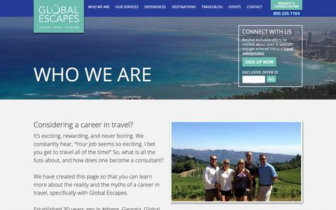Screenshot of Jobs Page globalescapes.com - Careers - Global EscapesGlobal Escapes - captured Sept. 28, 2018