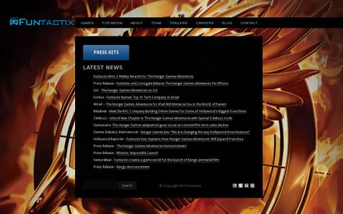 Screenshot of Press Page funtactix.com - Funtactix Game production for blockbuster media properties - captured July 20, 2014