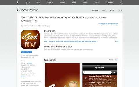 Screenshot of iOS App Page apple.com - iGod Today with Father Mike Manning on Catholic Faith and Scripture on the App Store on iTunes - captured Oct. 25, 2014