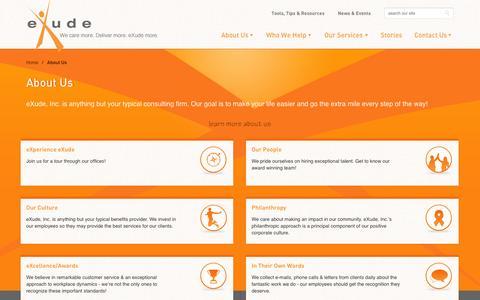 Screenshot of About Page exudeinc.com - About Us | eXude Inc. - captured Sept. 30, 2014