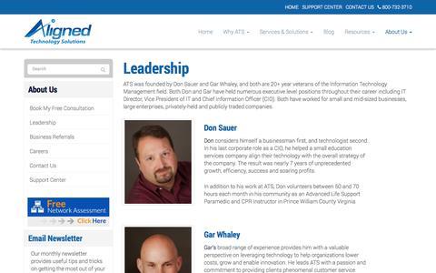 Screenshot of Team Page alignedtechnologysolutions.com - Leadership - Alexandria, Arlington, Tyson's Corner | Aligned Technology Solutions, LLC - captured Oct. 4, 2014