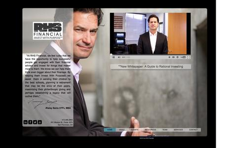 Screenshot of Home Page rhsfinancial.com - Investment Management, San Francisco Financial Planner - captured Oct. 9, 2014