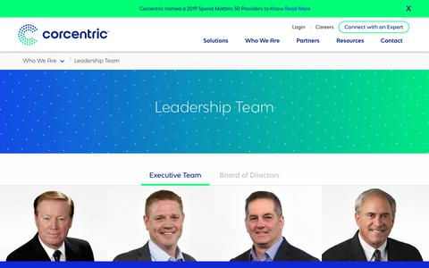 Screenshot of Team Page corcentric.com - Leadership Team | Corcentric - captured July 19, 2019