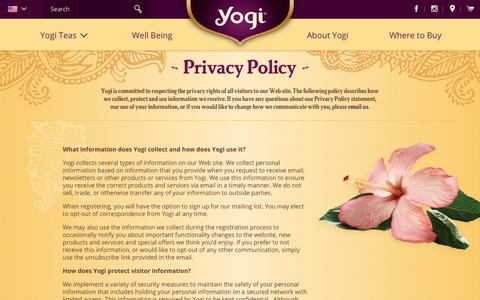 Screenshot of Privacy Page yogiproducts.com - Yogi Products Privacy Policy - captured Feb. 27, 2018