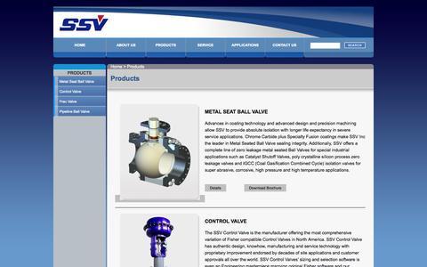 Screenshot of Products Page ssvvalve.com - Severe Service Valve Inc. - captured Nov. 5, 2014