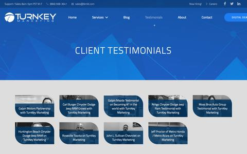 Screenshot of Testimonials Page tkmkt.com - Client Testimonials - captured Oct. 18, 2018