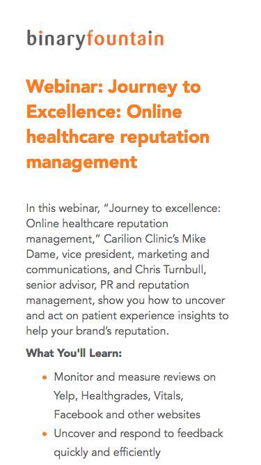 Healthcare Reputation Management Platform - Binary Fountain