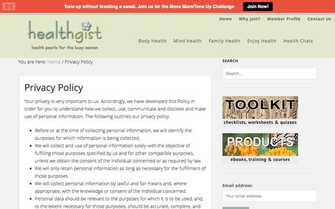Screenshot of Privacy Page healthgist.com - Privacy Policy - captured Sept. 25, 2014