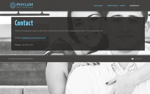 Screenshot of Contact Page phylumphotography.com - Contact - Phylum Photography - captured Dec. 8, 2018