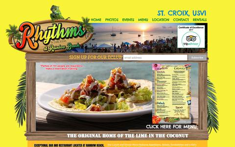 Screenshot of Menu Page rainbowbeachstx.com - St. Croix Bar & Restaurant - Rhythms at Rainbow Beach - captured Oct. 19, 2018