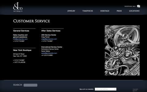 Screenshot of Support Page jacobandco.com - Customer Service - captured Sept. 23, 2014