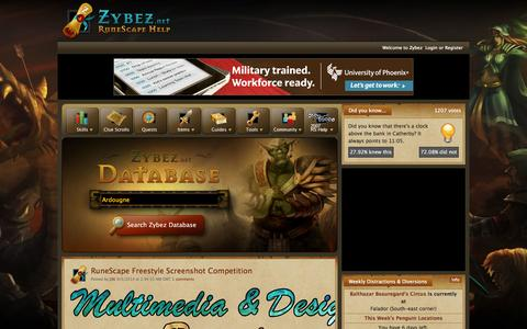 Screenshot of Home Page zybez.net - Zybez - Runescape Help, guides, items, quests, and forums! - captured Sept. 18, 2014