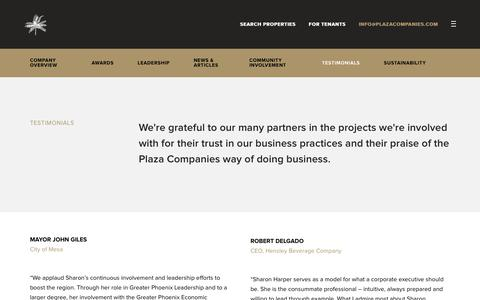 Screenshot of Testimonials Page theplazaco.com - Testimonials - Plaza Companies - captured Sept. 28, 2018