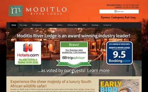 Screenshot of Home Page Maps & Directions Page moditlo.com - Moditlo River Lodge - Home - captured March 4, 2016