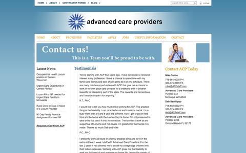 Screenshot of Testimonials Page acpstaff.com - Advanced Care Providers | Physician Assistant and Nurse Practitioner Medical Staffing & Recruiting Professionals   » Testimonials from our Contractors - captured Oct. 4, 2014