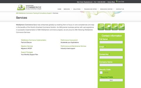 Screenshot of Services Page webspherecommerceguru.com - Our Services - Websphere Commerce Support and  Training Services |WebSphere Commerce - captured Oct. 7, 2014
