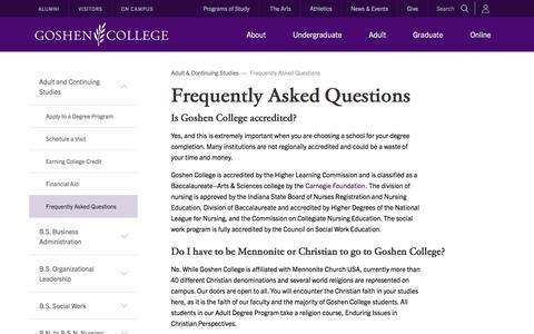 Screenshot of FAQ Page goshen.edu - FAQs   Adult & Continuing Studies   Goshen College - captured Oct. 30, 2014