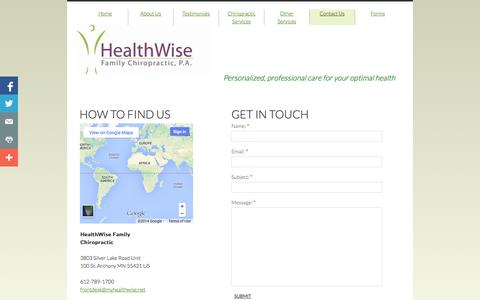 Screenshot of Privacy Page Contact Page myhealthwise.net - Contact Us - captured Oct. 22, 2014