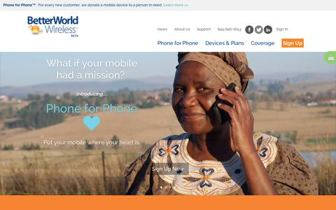 Screenshot of Home Page Signup Page Support Page betterworldwireless.com - BetterWorld Wireless - Mobile with a Mission - captured Sept. 30, 2014