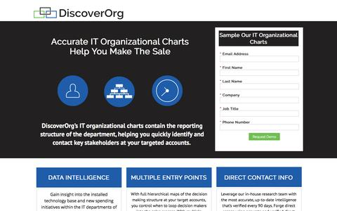 Screenshot of Landing Page discoverorg.com - DiscoverOrg Sales Intelligence Platform | Accurate Contacts, Organizational Charts & Real Time Triggers - captured May 10, 2016