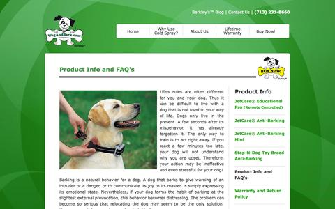 Screenshot of FAQ Page wagandbark.com - FAQ About Anti Barking Collars From Wag and Bark - captured Oct. 7, 2014