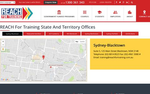 Screenshot of Contact Page Locations Page reachfortraining.com.au - Contact Us - Reach For Training - captured Nov. 2, 2017