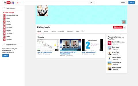Screenshot of YouTube Page youtube.com - thelazytrader  - YouTube - captured Nov. 5, 2014