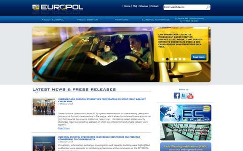 Screenshot of europa.eu - Europol - captured Oct. 10, 2014