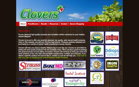 Screenshot of About Page clovers.ca - Clovers: About Clovers - natural health online store supplying hiqh-quality nutritional products - captured Oct. 2, 2014
