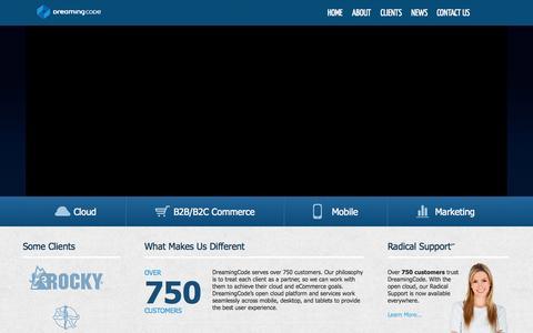 Screenshot of Home Page dreamingcode.com - DreamingCode, Boston eCommerce Web Design, Managed Cloud Hosting & SEO Search Engine Optimization - captured Sept. 23, 2014