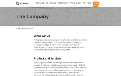 Screenshot of About Page plumgrid.com - PLUMgrid   –  About - captured July 18, 2014