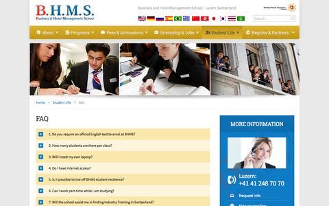 Screenshot of FAQ Page bhms.ch - FAQ-BHMS:Business Hotel Management School Luzern. Study in Switzerland Europe - captured Oct. 31, 2014