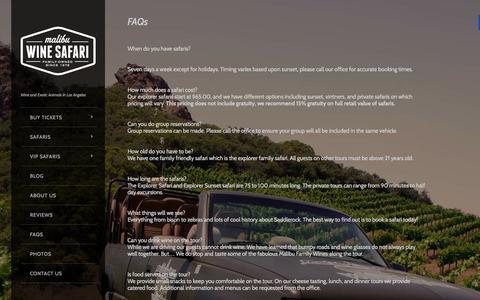 Screenshot of FAQ Page lasafaris.com - FAQs - Malibu Wine SafarisMalibu Wine Safaris - captured Nov. 3, 2014